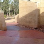 Textured rammed earth walls, Halls Gap