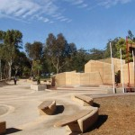 Customised timber seating in gravel gathering place