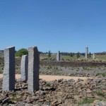 Granite obelisks and Basalt Gabion wall Kyneton
