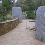 Large Harcourt Granite monoliths and Castlemaine slate