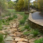 Reconstructed creek with indigenous planting