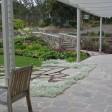 Timber pegola, random sawn bluestone paving