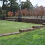 Stone Retainer walls around Tennis court