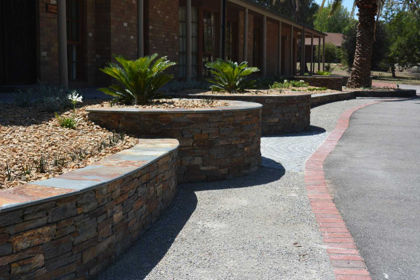 Curved stone walls