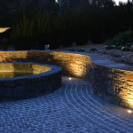 Cobble stone paving, ambient garden lighting