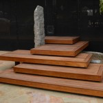 Floating spotted gum steps with Granite piller