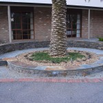 Stone seating, black slate capping